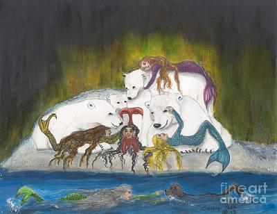 Arctic Dog Painting - Mermaids Polar Bears Cathy Peek Fantasy Art by Cathy Peek