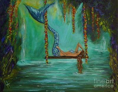 Painting - Mermaids Relaxing Evening by Leslie Allen