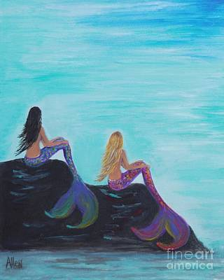Painting - Mermaids Sitting Pretty by Leslie Allen