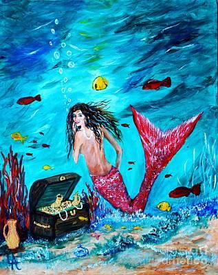 Painting - Mermaids Treasure by Leslie Allen