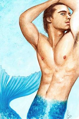 Bruce Art Painting - Merman Blue by Bruce Lennon