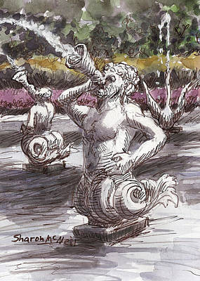 Roaring Red - Mermen and Swan by Sharon McNeil