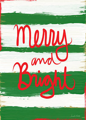 Stripes Mixed Media - Merry And Bright- Greeting Card by Linda Woods