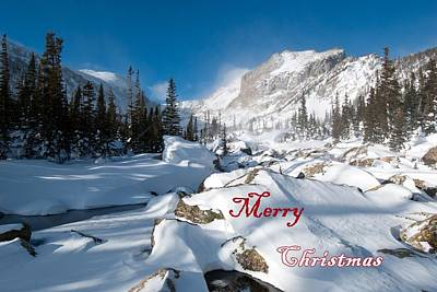 Photograph - Merry Christmas Snowy Mountain Scene by Cascade Colors
