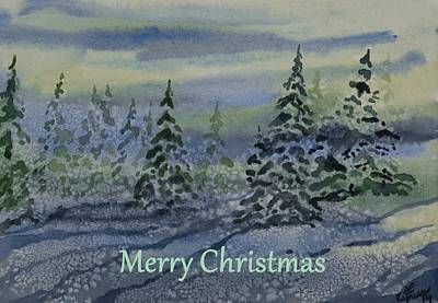 Painting - Merry Christmas - Snowy Winter Evening by Cascade Colors