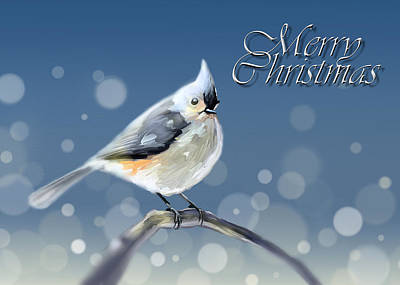 Titmouse Digital Art - Merry Christmas - Tufted Titmouse by Arie Van der Wijst