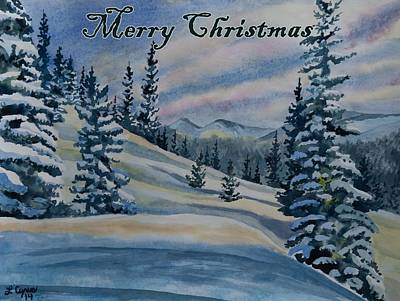 Painting - Merry Christmas - Winter Landscape by Cascade Colors