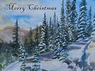 Painting - Merry Christmas - Winter Trees And Mountains by Cascade Colors