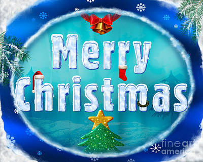 Fir Trees Mixed Media - Merry Christmas 01 by Bedros Awak