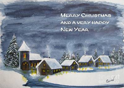 Snow Painting - Merry Christmas 1   With Text by Christine Huwer