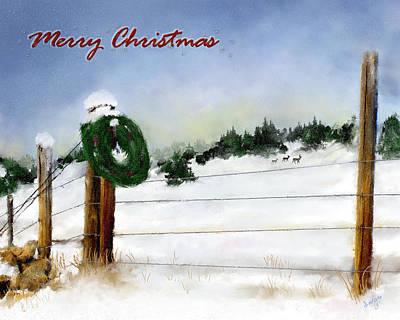 Montana Digital Art - Merry Christmas Wreath by Susan Kinney