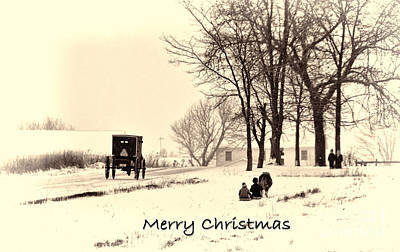 Photograph - Merry Christmas Amish Kids At Play by David Arment