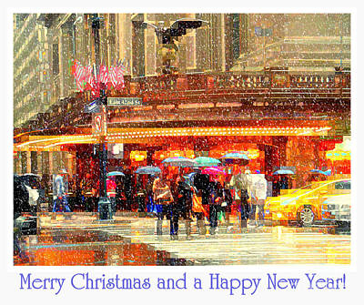 Photograph - Merry Christmas And A Happy New Year - Grand Central In The Snow - Holiday And Christmas Card by Miriam Danar