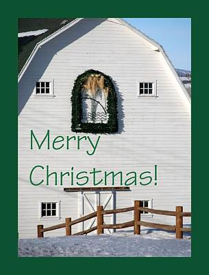 Jerry Sodorff Royalty-Free and Rights-Managed Images - Merry Christmas Barn Green Border 1186 by Jerry Sodorff