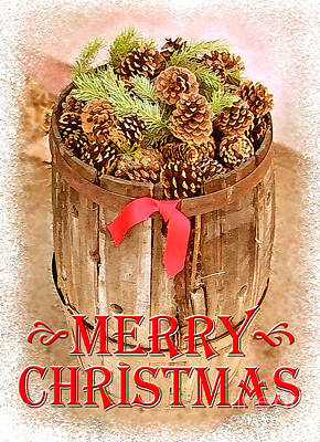 Pine Cones Photograph - Merry Christmas Barrel by Cristophers Dream Artistry