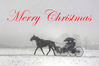 Photograph - Merry Christmas Buggy Ride - Card by Gene Walls
