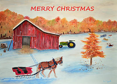 Maine Barns Painting - Merry Christmas Card by Ken Figurski