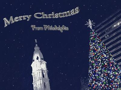 City Hall Photograph - Merry Christmas From Philly by Photographic Arts And Design Studio