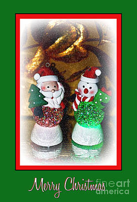Photograph - Merry Christmas - Glowing Santas 2 By Kaye Menner by Kaye Menner