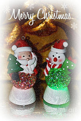 Photograph - Merry Christmas - Glowing Santas By Kaye Menner by Kaye Menner