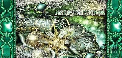 Merry Christmas Green Art Print by Mo T