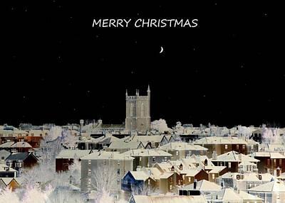 Merry Christmas Greeting Card Art Print by Bishopston Fine Art