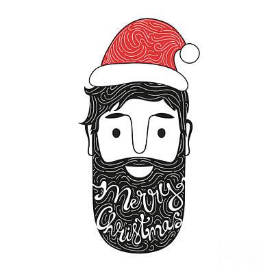 Happy New Year Wall Art - Digital Art - Merry Christmas Hand Drawn Style by Julymilks