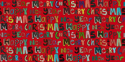 Merry Christmas Happy New Year Red Print by Sharon Turner