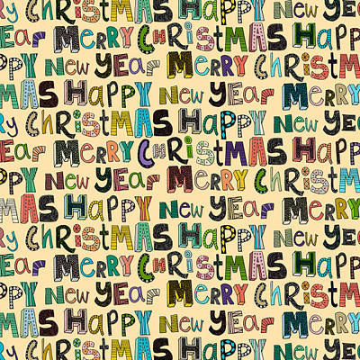 Holidays Drawing - Merry Christmas Happy New Year by Sharon Turner
