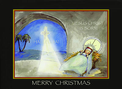 Painting - Merry Christmas Jesus Christ Is Born by Glenna McRae
