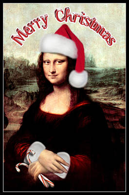 Candy Digital Art - Merry Christmas Mona Lisa  by Gravityx9  Designs