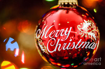 Macro Photograph - Merry Christmas Ornament by Oscar Gutierrez