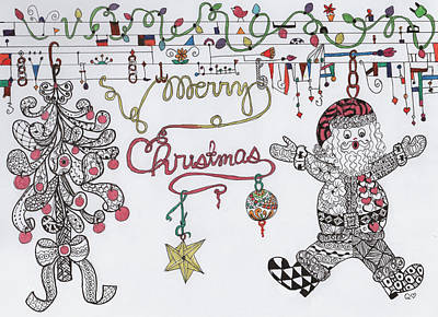 Drawing - Merry Christmas by Quwatha Valentine