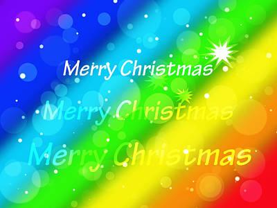 Illuminated Wall Decorations Photograph - Merry Christmas Rainbow by Gill Billington