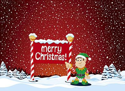 Merry Christmas Sign Christmas Elf Winter Landscape Art Print