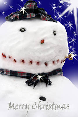 Digital Art - Merry Christmas Snowman by Cathy Beharriell