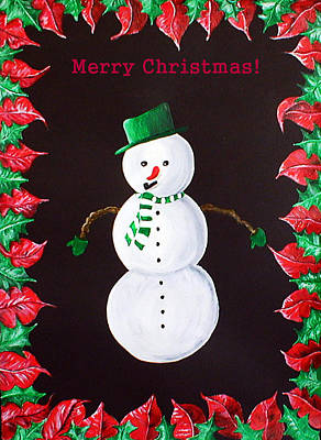 Painting - Merry Christmas Snowman by Sandy Wager