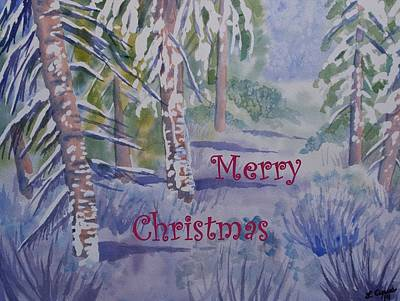Painting - Merry Christmas - Snowy Winter Path by Cascade Colors