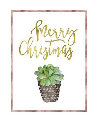 Christmas Cactus Painting - Merry Christmas Succulent by Tara Moss