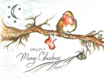 Merry Christmas Robin Art Print
