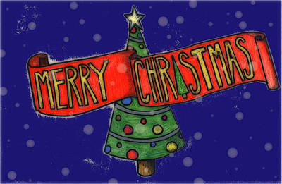Drawing - Merry Christmas Tree by Jame Hayes