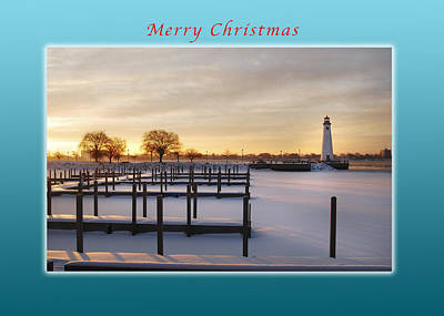 Sunset Photograph - Merry Christmas Winter Marina And Lighthouse by Michael Peychich