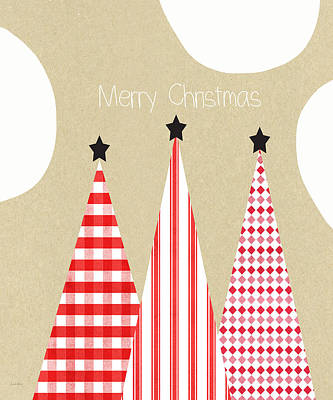 Stripes Mixed Media - Merry Christmas With Red And White Trees by Linda Woods
