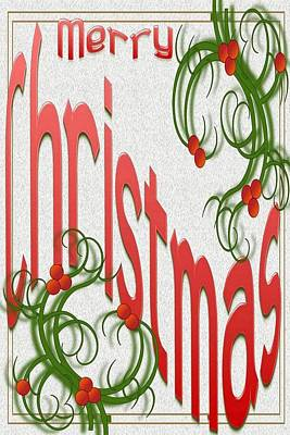Digital Art - Merry Christmas With Stylized Holly Greeting Card  by Taiche Acrylic Art