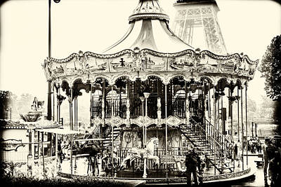 Merry Go Round And Eiffel Tower Art Print
