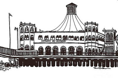 Santa Monica Drawing - Merry Go Round Building Sm Pier by Robert Birkenes