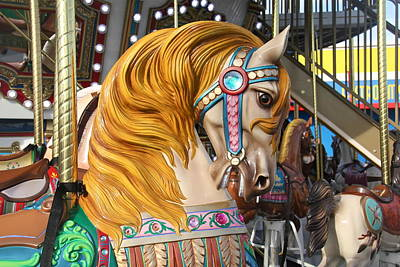 Photograph - Merry Go Round Horse Close Up by Denise Mazzocco