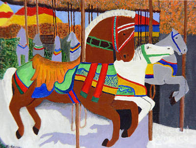 Art Print featuring the painting Merry-go-round by Mary M Collins
