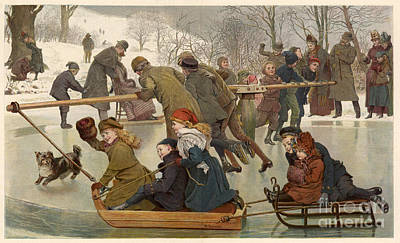 Merry-go-round On The Ice 1890 Art Print