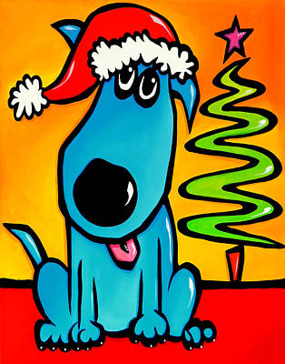 Contemporary Abstract Drawing - Merry - Holiday Dog Pop Art by Tom Fedro - Fidostudio